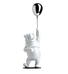 Winnie the Pooh Glossy White & Chromed Silver by Leblon Delienne - Limited Edition Sculpture sized 5x20 inches. Available from Whitewall Galleries