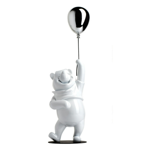 Winnie the Pooh Glossy White & Chromed Silver by Leblon Delienne - Limited Edition Sculpture